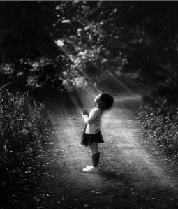 little girl in God's beam